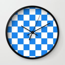 Checkered - White and Dodger Blue Wall Clock