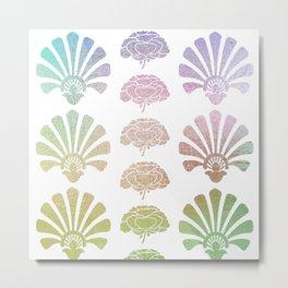Ombre Art Deco pattern, palm tree pattern, metallic shine, pastel colors, vintage,belle epoque,elega Metal Print
