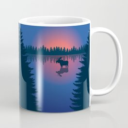 Moose in a Lake, Summer Forest Coffee Mug