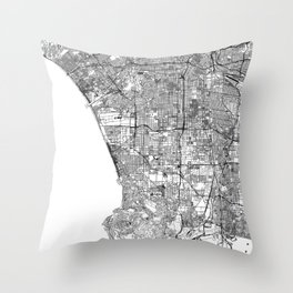 Los Angeles White Map Throw Pillow