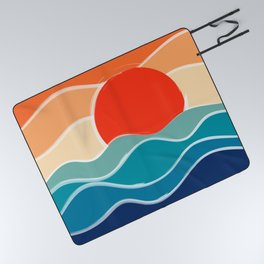 Retro 70s and 80s Color Palette Mid-Century Minimalist Nature Waves and Sun Abstract Art Picnic Blanket