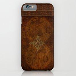 Antique Steampunk Compass Rose & Map iPhone Case