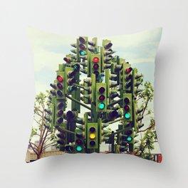 Traffic light tree in Canary Wharf, London - Fine Art Travel Art Photography Throw Pillow