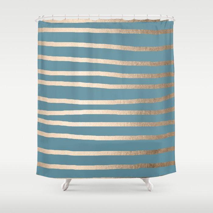 Abstract Drawn Stripes Gold Tropical Ocean Blue Shower Curtain By Followmeinstead