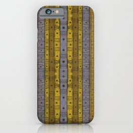 Stripes & Dots, Vintage Stripe Pattern, Grey Gray Yellow iPhone Case