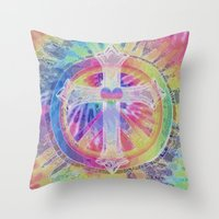 tye dye Throw Pillows featuring Tye Dye Cross  by Tree of Life Shop