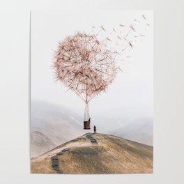 Flying Dandelion Poster