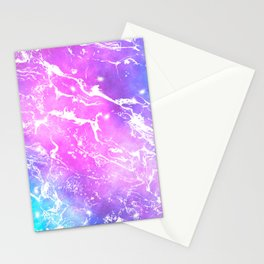 Modern pink turquoise watercolor nebula space marble pattern Stationery Cards