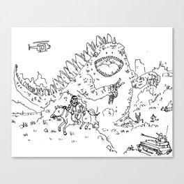 """""""Big Snake Vs. Big Lizard"""" lineart (Farts 'N' Crafts episode 3) Canvas Print"""