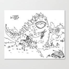 """Big Snake Vs. Big Lizard"" lineart (Farts 'N' Crafts episode 3) Canvas Print"