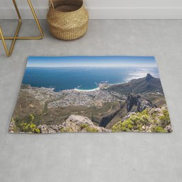 Panoramic view of Camps Bay from Table Mountain in Cape Town, South Africa Rug