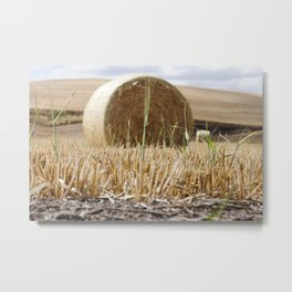 Wheat Bale Photography Print Metal Print