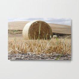 Wheat Bale Photography Print Metal Print