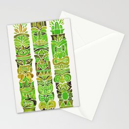 Tiki Totems – Green Stationery Cards