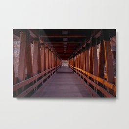 Interior Riverwalk Covered Bridge Littleton New Hampshire Ammonoosuc River Color Metal Print