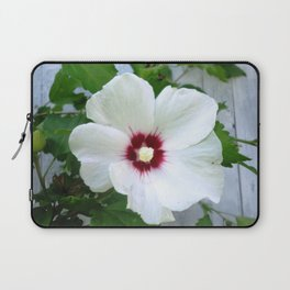 White Hibiscus Flower Ruffle Laptop Sleeve