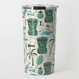 Tropical Tiki - Cream & Aqua Travel Mug