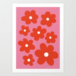 Red Flowers On Pink Art Print