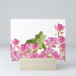 Lotos - Lotus Flower Frog Illustration Mini Art Print