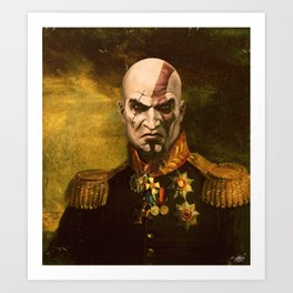 Kratos General Portrait Painting | god of war Fan Art Art Print