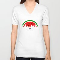 watermelon V-neck T-shirts featuring watermelon by mark ashkenazi