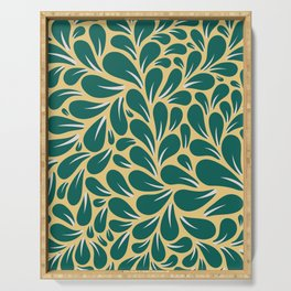 Gold and Green Leaves Pattern Serving Tray