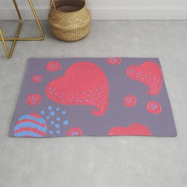 lollipop attacked by hearts Rug