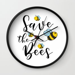 Save The Bees Cute Bee Natures Love Wall Clock