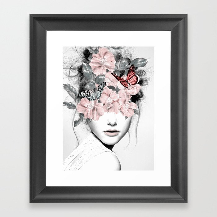 WOMAN WITH FLOWERS 10 Gerahmter Kunstdruck