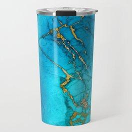 Gold And Teal Blue Indigo Malachite Marble Travel Mug