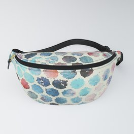 Colorful distressed polka dot pattern in watercolor Fanny Pack