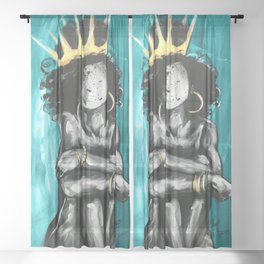 Naturally Queen IX TEAL Sheer Curtain