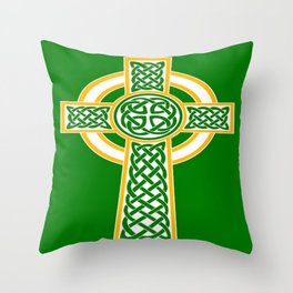 St Patrick's Day Celtic Cross White and Green Throw Pillow