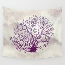 Purple and Ivory Coral Wall Tapestry