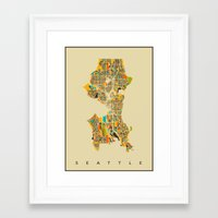 seattle Framed Art Prints featuring Seattle by Nicksman