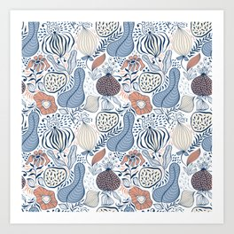 Girly Hipster Blue and Orange Wild Flowers Forest Floor Art Print