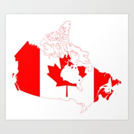 Flag Map of Canada Art Print