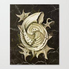 Dystopian Conch - Gold Canvas Print