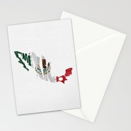 Mexico Typographic Flag Map Art Stationery Cards