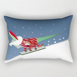 Dinosaur Snowboarding in Ugly Christmas Jumper Rectangular Pillow