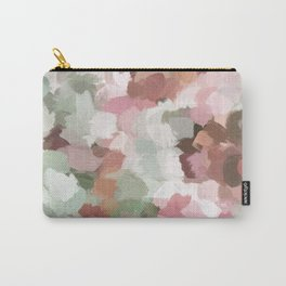 Sage Mint Green Fuchsia Blush Pink Abstract Flower Wall Art, Springtime Painting Print, Modern Wall Carry-All Pouch