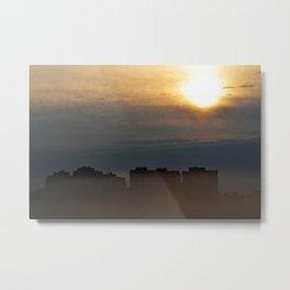 City in a fog. Metal Print