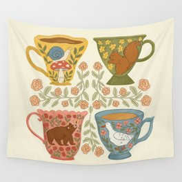 Floral Animal Teacups Wall Tapestry