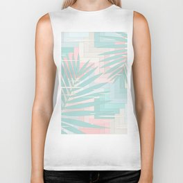 Summer Mood with Chevron and Palms Biker Tank
