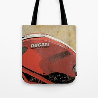 ducati Tote Bags featuring Ducati Monster by Larsson Stevensem