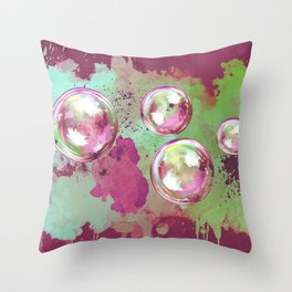Soap bubbles in the sky watercolor painting Throw Pillow