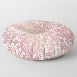 Rose Gold and White Mandala Pattern Floor Pillow