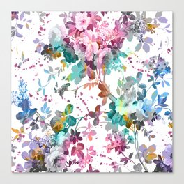 Abstract pink teal watercolor splatters floral pattern Canvas Print