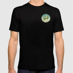 NEVER STOP EXPLORING THE CLOUDS MEDIUM Black Mens Fitted Tee