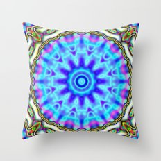 Liquid Blue Kaleido Pattern Throw Pillow